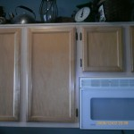 Cabinets before stain and antique