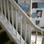 Handrails before stain and paint