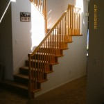 Wood staircase before stain and paint