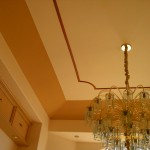 Accented trim wood on ceilings