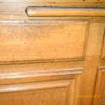 Close up oak cabinet before