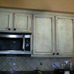 Oak cabinets, painted, distressed and antiqued